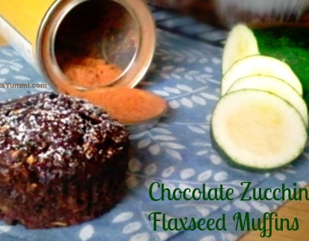 Chocolate Zucchini Flaxseed Muffins