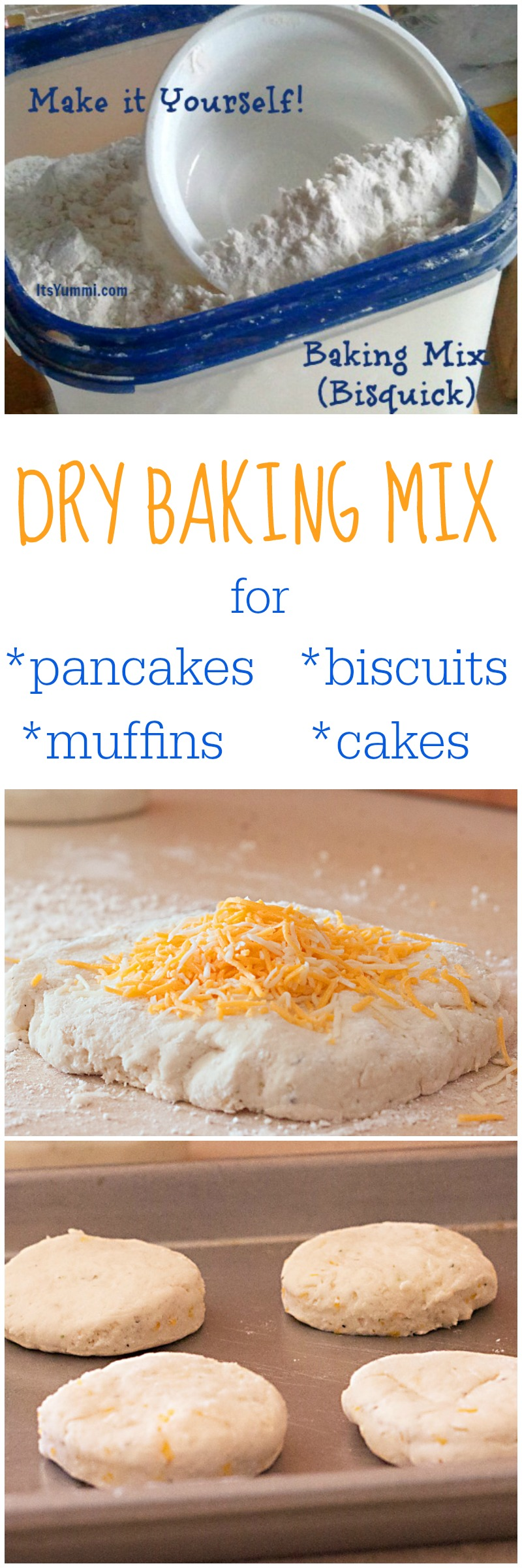 Homemade Dry Baking Mix (DIY Bisquick) is less expensive and better for you! Make homemade biscuits, pancakes, muffins, cakes, and more!