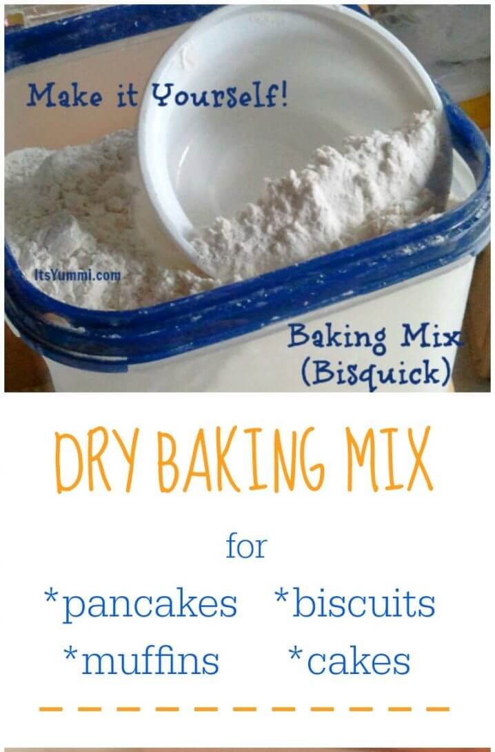Homemade Dry Baking Mix (DIY Bisquick) is less expensive and better for you than the store bought kind! Get the recipe on itsyummi.com