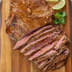 medium rare slices of pan seared sirloin steak