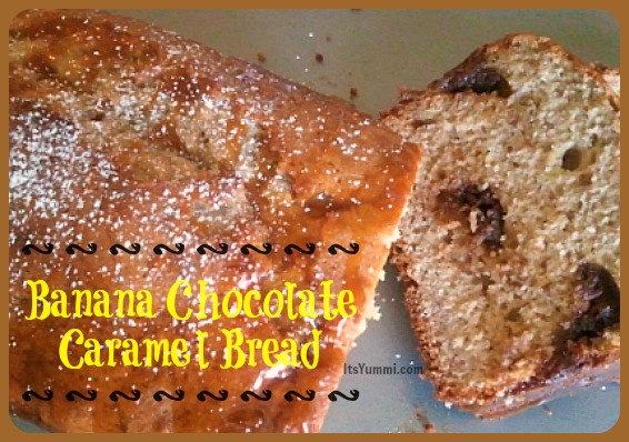 Chocolate Caramel Stuffed Banana Bread