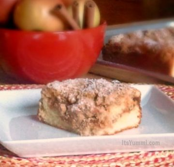 Bakery Style Apple Cinnamon Crumb Cake - Buttery, moist coffee cake, filled with fresh cinnamon apples and a ribbon of cinnamon streusel