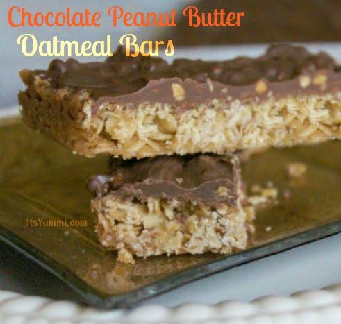 Chocolate Peanut Butter Oatmeal Bars by ItsYummi.com