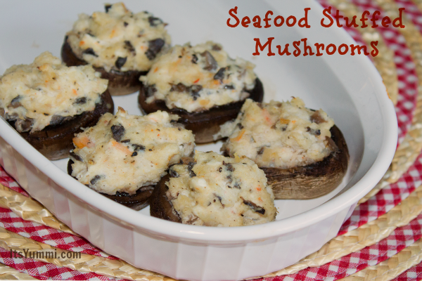 Seafood Stuffed Mushrooms Recipe - this is a delicious and easy appetizer recipe from itsyummi.com that's perfect for holidays, game days, or days that end with Y.