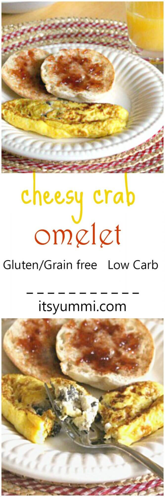 Cheesy Crab Omelet Recipe photo collage