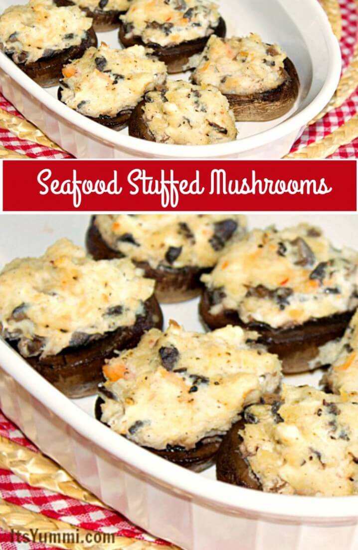 seafood stuffed mushrooms photo collage