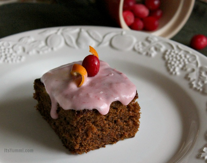 Orange Gingerbread Cake with Cranberry Cream Cheese Frosting