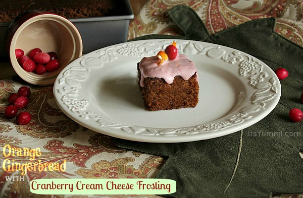 Gingerbread cake with cranberry cream cheese frosting.