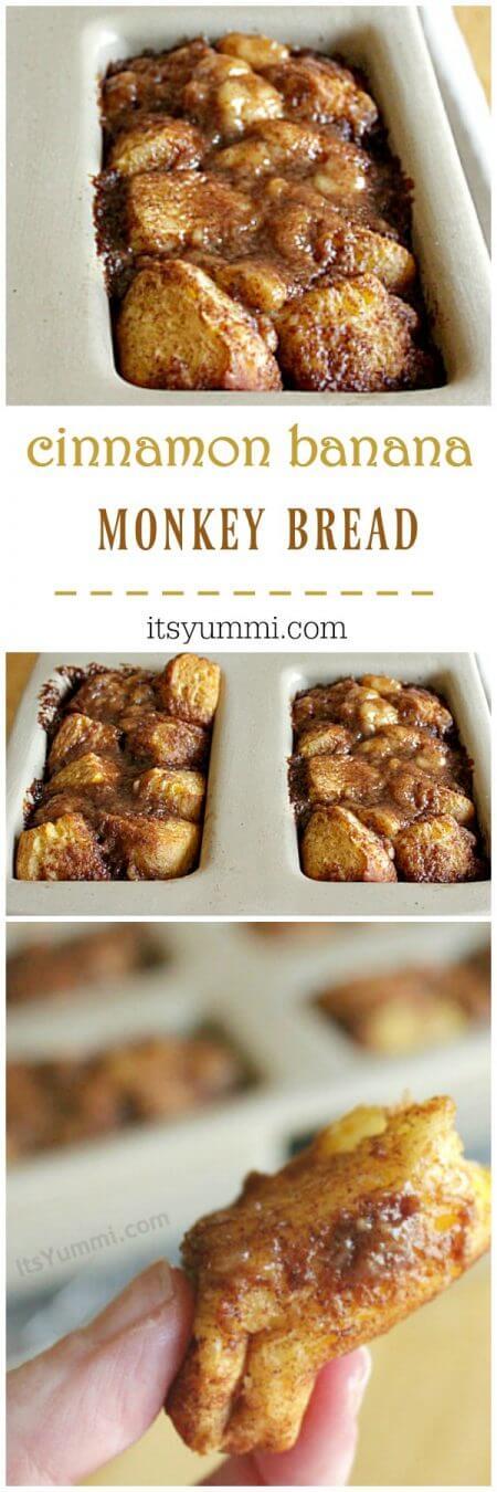 Cinnamon Banana Monkey Bread photo collage