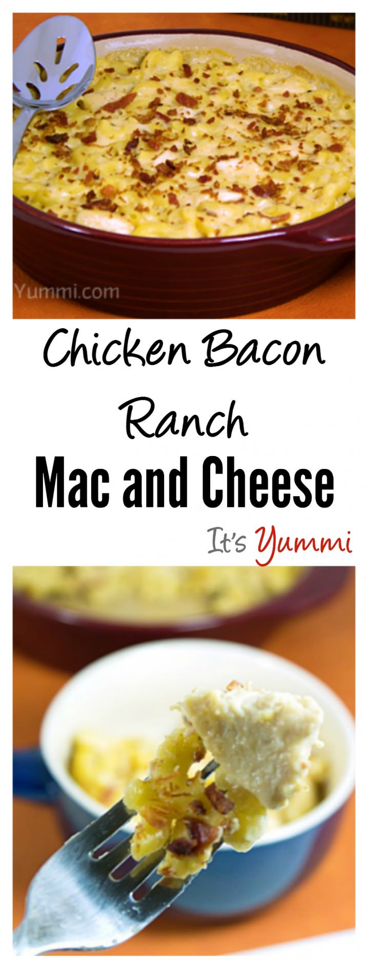 Chicken Bacon Ranch Mac and Cheese Recipe from ItsYummi.com is lightened up version of traditional macaroni and cheese. Comfort food with less guilt!