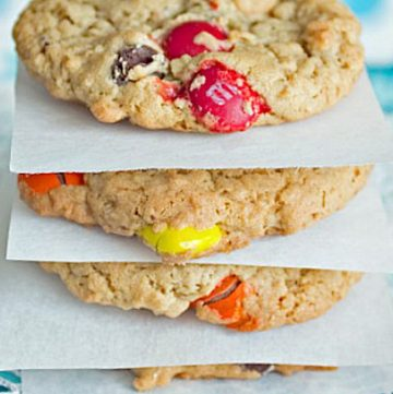 Monster cookies are the ultimate cookie for cookie lovers! Oatmeal, peanut butter, chocolate chips, M&M's and raisins (if you like them) are loaded into a soft, chewy cookie! Get the recipe from itsyummi.com
