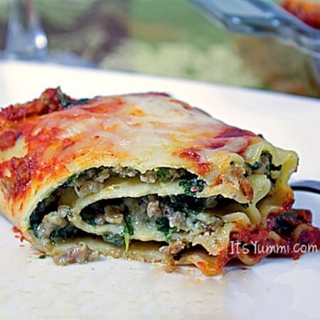 Lasagna Roll Ups with Sausage and Spinach