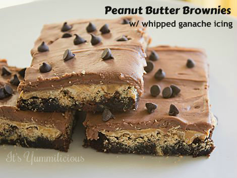 Chewy brownies with a layer of creamy peanut butter chips and a topping of whipped milk chocolate ganache. Simply yummi!