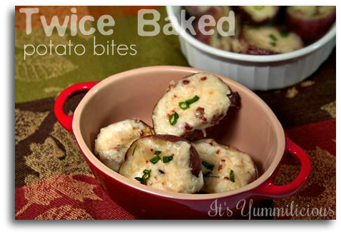 Twice Baked Potato Bites from ItsYummi.com - Baby red baked potatoes that are filled with a potato, bacon, and cheese mixture, then baked up again until theiy're warm, cheesy, and delicious. Perfect as an appetizer or game day snack.