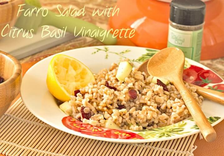 Farro Salad with Citrus Basil Vinaigrette- Crunchy farro, apples, and walnuts paired with a citrus basil dressing is one of my favorite heart healthy recipes. A great side dish or vegan entree.