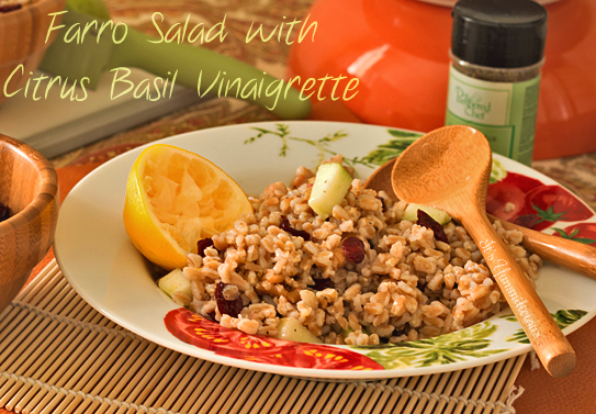Farro Salad with Citrus Basil Vinaigrette from ItsYummi.com - This is one of my favorite heart healthy recipes. The crunch of farro and apples paired with a citrus basil dressing makes the perfect side dish!