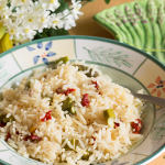 This Jasmine rice pilaf with asparagus and sun dried tomatoes is the perfect Spring brunch side dish! Get the recipe from itsyummi.com