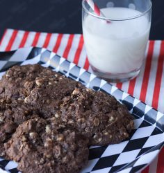 Lightened Up Double Chocolate Peanut Butter Oatmeal Cookies - Recipe from ItsYummi.com