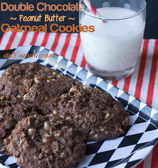 Lightened up Double Chocolate Peanut Butter Oatmeal Cookies - Recipe from ItsYummi.com - One of the best healthy cookie recipes ever!