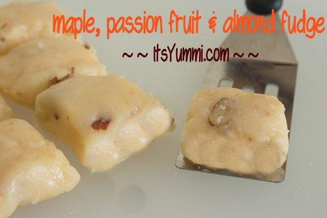 Maple Passion Fruit Almond Fudge recipe from ItsYummi.com