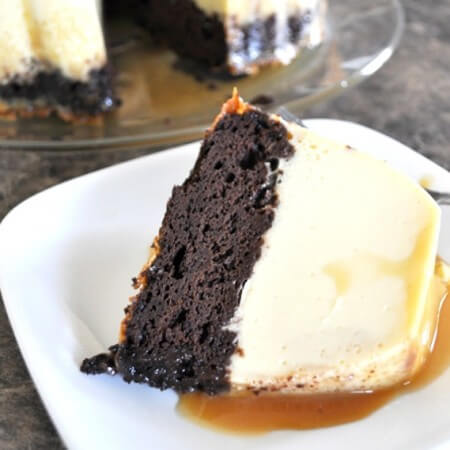 This chocolate flan cake is one of the tastiest desserts you'll ever eat! Moist chocolate cake meets traditional vanilla flan with a creamy caramel sauce on top. Get the recipe on itsyummi.com