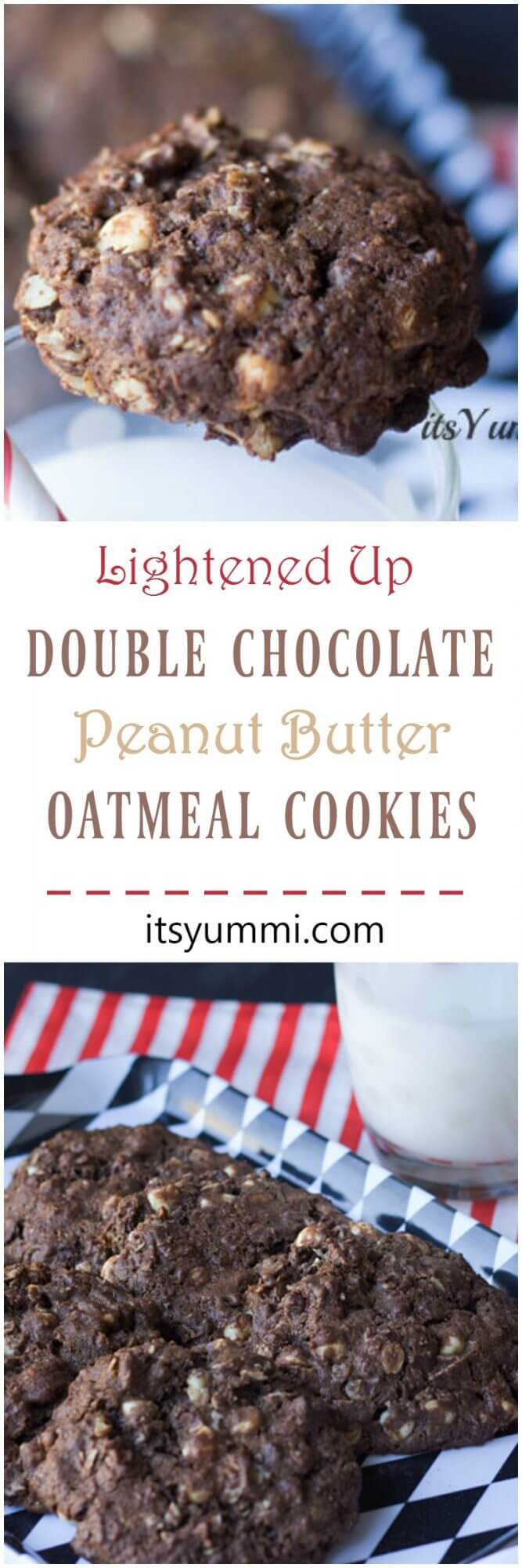 Lightened Up Double Chocolate Peanut Butter Oatmeal Cookies - Lower in calories and carbs, but with just as much flavor! Recipe on itsyummi.com