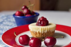 Single Serving Cheesecakes with Cherries and Chocolate Fudge