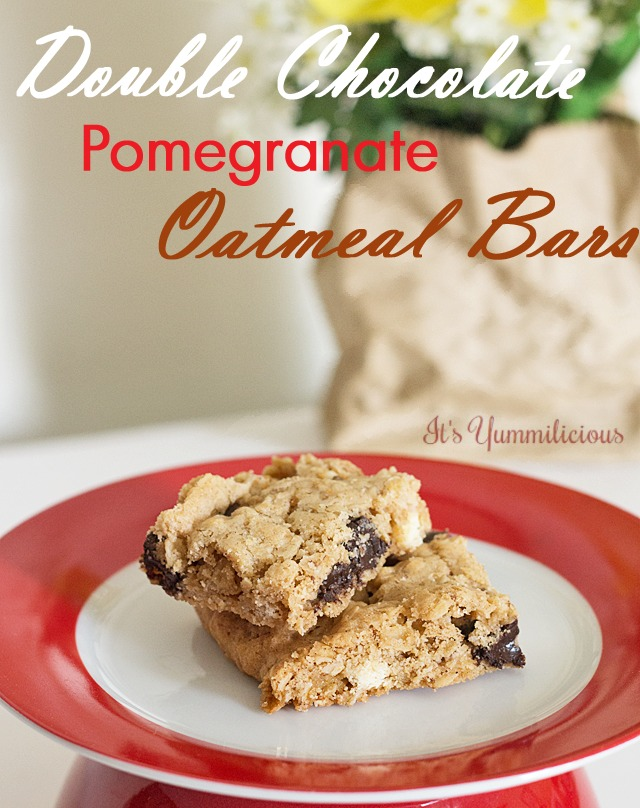 Double Chocolate Pomegranate Oatmeal Bars from ItsYummi.com