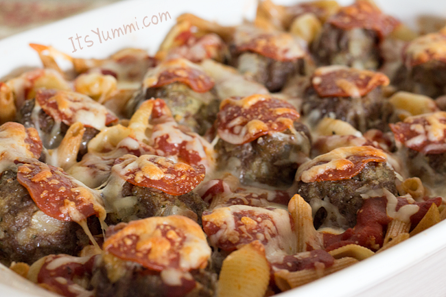 Meatball & Pepperoni Pizza Pasta from ItsYummi.com