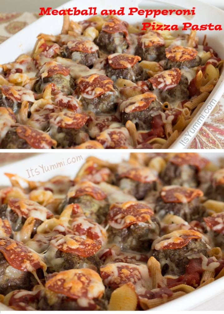 Kids love this meatball pepperoni pizza pasta! Recipe on ItsYummi.com