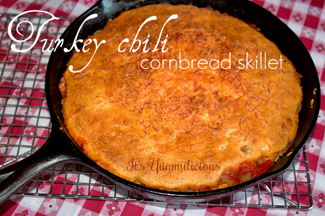 Turkey Chili Cornbread Skillet from ItsYummi.com #recipe #skillet #casserole