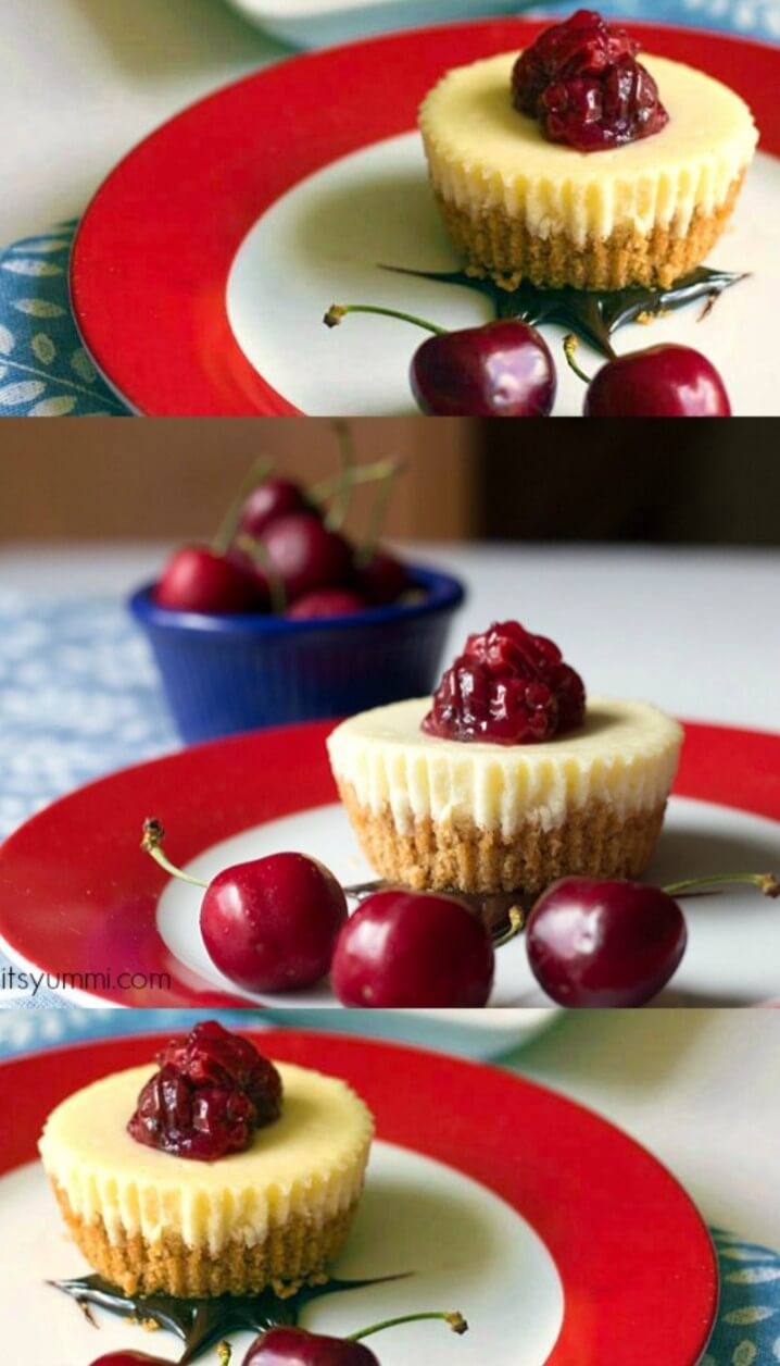 Chocolate Cherry Single Serving Cheesecakes are mini-sized desserts with a great big taste! Get the recipe from itsyummi.com