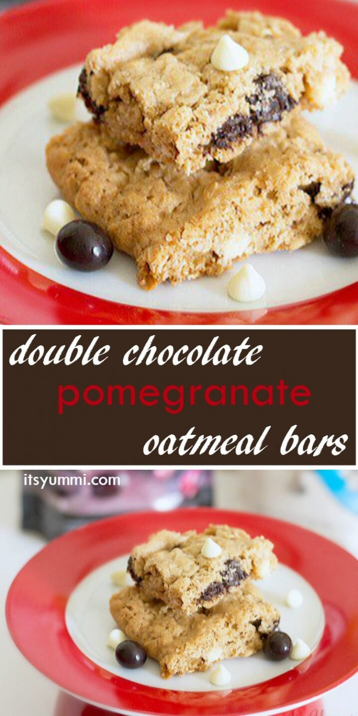These chewy, browned butter baked oatmeal bar cookies are stuffed with white chocolate chips and dark chocolate covered pomegranate arils. Get the recipe from itsyu