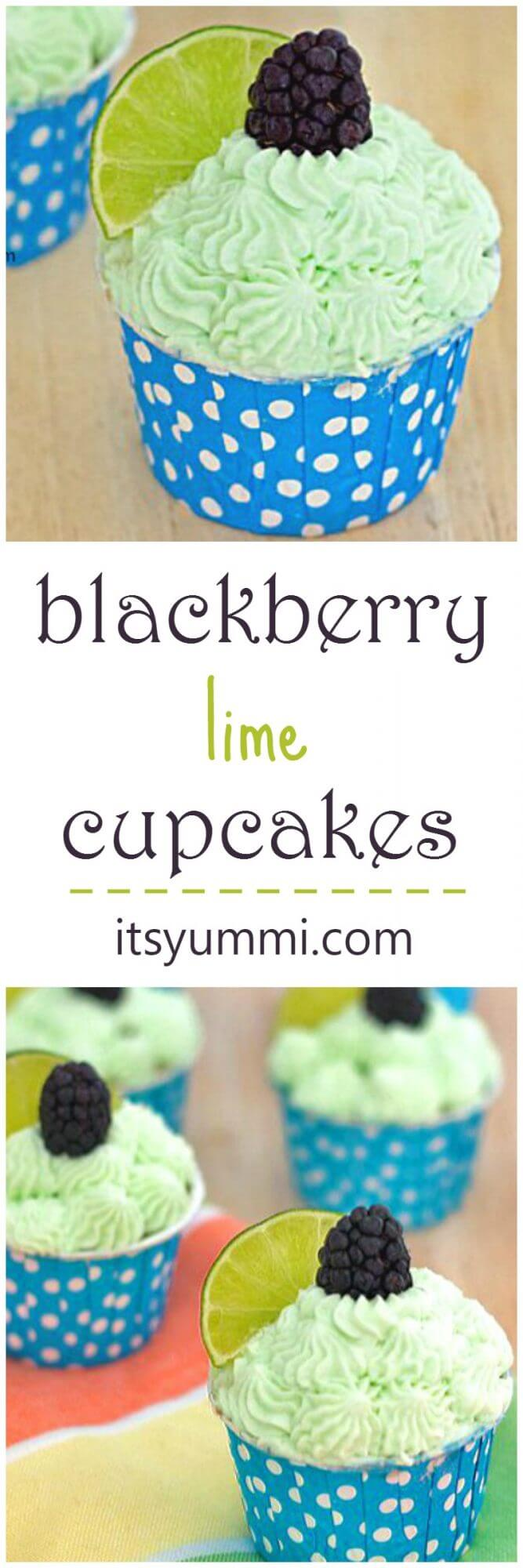 Blackberry Lime Cupcakes Recipe - Cupcakes from scratch (post has instructions on how to make them from a boxed cake mix, too!) \\ ItsYummi.com