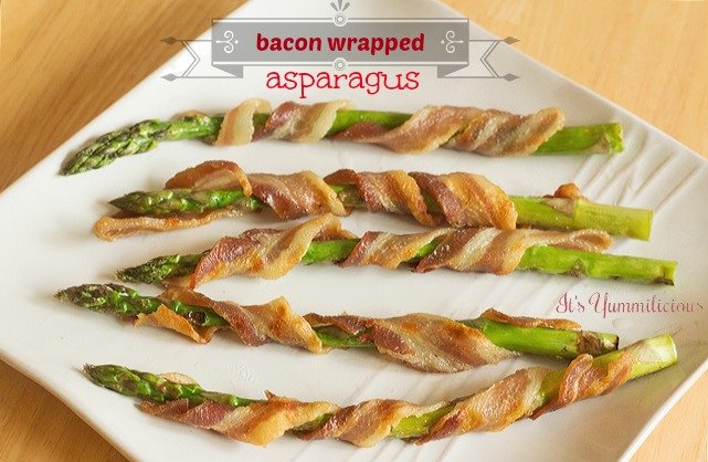 This bacon wrapped asparagus from ItsYummi.com is a carb-free treat that's a perfect dish for #baconmonth 2013!