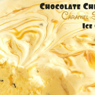 Homemade Caramel Swirl Chocolate Chip Ice Cream