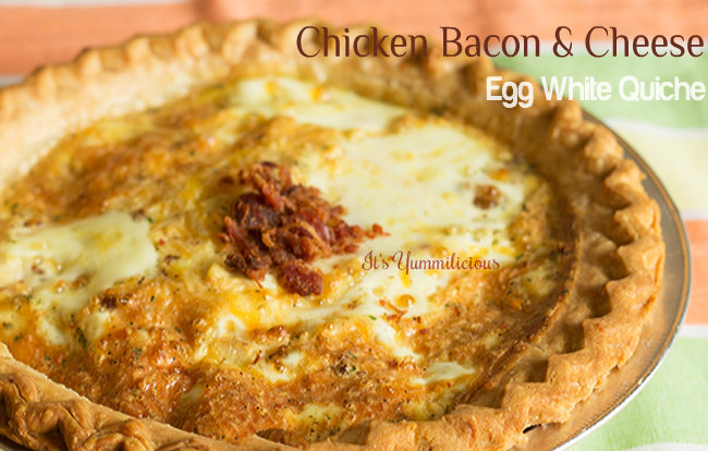 Cheesy Chicken Bacon Egg White Quiche - Made with egg whites and no yolks, this quiche is packed with protein and lots of delicious bacon and cheddar cheese! Recipe on itsyummi.com