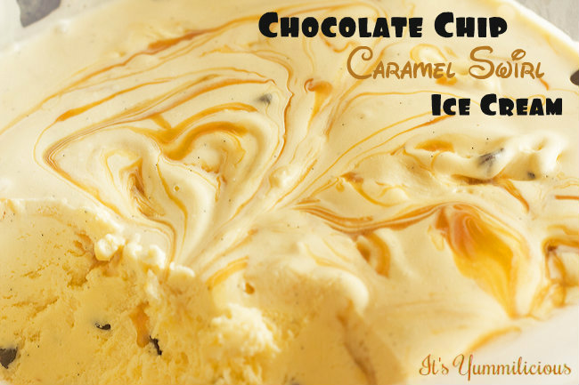 Chocolate Chip Caramel Swirl Ice Cream from itsyummi.com width=