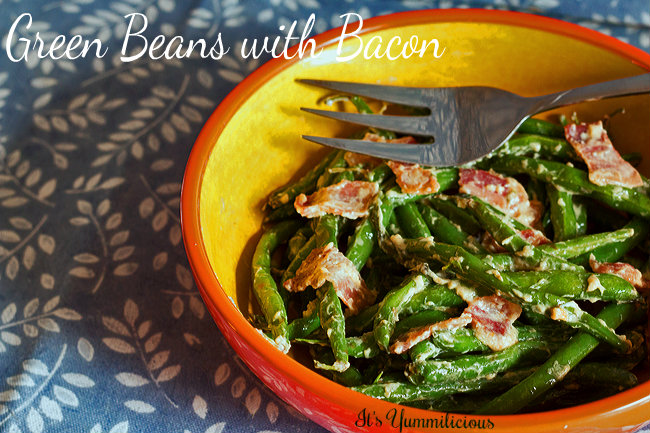 Green beans with bacon from ItsYummi.com #baonmonth 2013