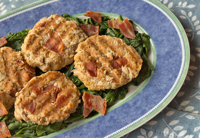 Tuna Patties with Bacon - An easy, healthy lunch or light dinner recipe.
