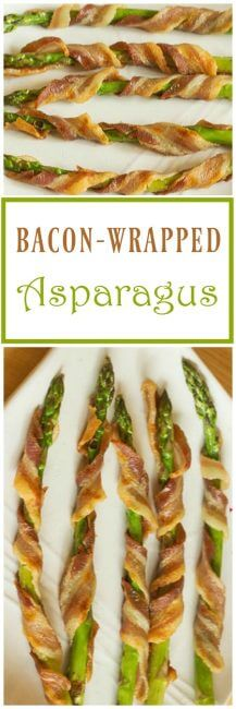 This asparagus wrapped bacon from ItsYummi.com is a low-carb side dish that's a great way to use spring asparagus!