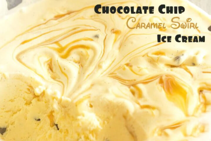 Chocolate Chip Caramel Swirl Ice Cream from @itsyummi - A creamy cold frozen dessert recipe.