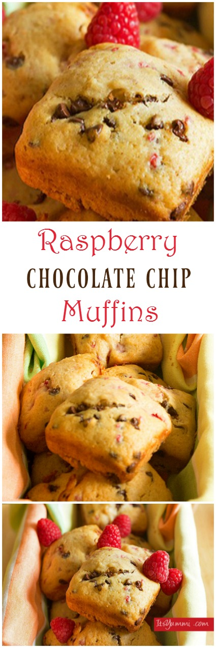 Raspberry Chocolate Chip Muffins - Fresh raspberries and mini chocolate chips folded into a light vanilla muffin. Makes the perfect easy snack any time of the day! | ItsYummi.com