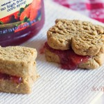 Put some fun into your lunchbox with these Peanut Butter & Jelly Sandwich Cookies from ItsYummi.com #recipe #cookies #creativecookieexchange