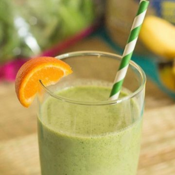 This healthy green protein breakfast smoothie recipe is packed with protein powder, Greek yogurt, tropical fruits, and healthy greens. It's a great way to start the day and your healthy self will thank you for it! Get the recipe at itsyummi.com