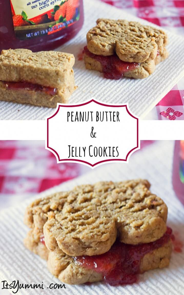 Low Sugar Peanut Butter and Jelly Sandwich Cookies - Healthy snack ideas start with these adorable sandwich cookies! They're filled with sugar-free jelly and shaped to look like a real peanut butter and jelly sandwich! Get the recipe from itsyummi.com