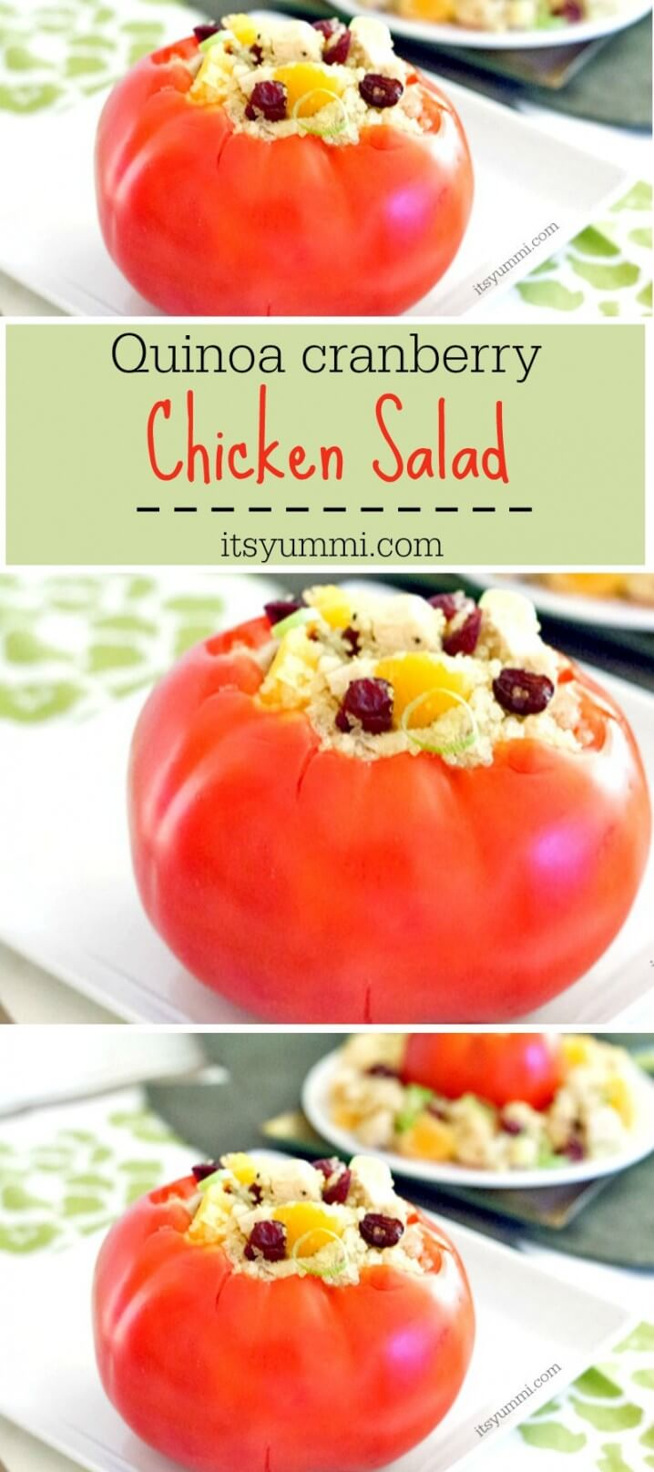 Quinoa Cranberry Chicken Salad Recipe - A complete meal with whole grain quinoa and chicken salad stuffed into a tomato. Perfect for a light, easy dinner! Get the recipe from ItsYummi.com