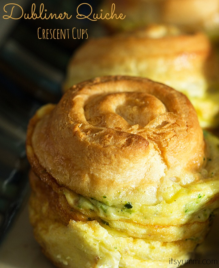 Cheesy Dubliner Quiche Crescent Cups from ItsYummi.com ~ Fluffy eggs, broccoli, bacon, and Kerrygold cheese are baked up inside of crescent rolls! YUM!