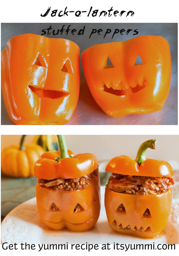 Jack-o-Lantern Stuffed Peppers from ItsYummi.com