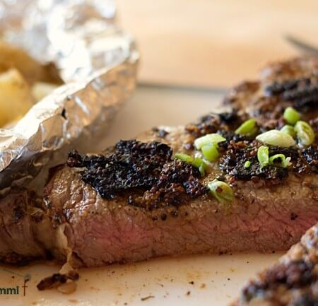 Mustard Peppercorn Rubbed Rib Eye Steak